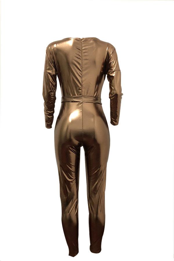 Trendy V-Ausschnitt Strahl Taille Gold Leder Einteilige Overalls (mit Gürtel)