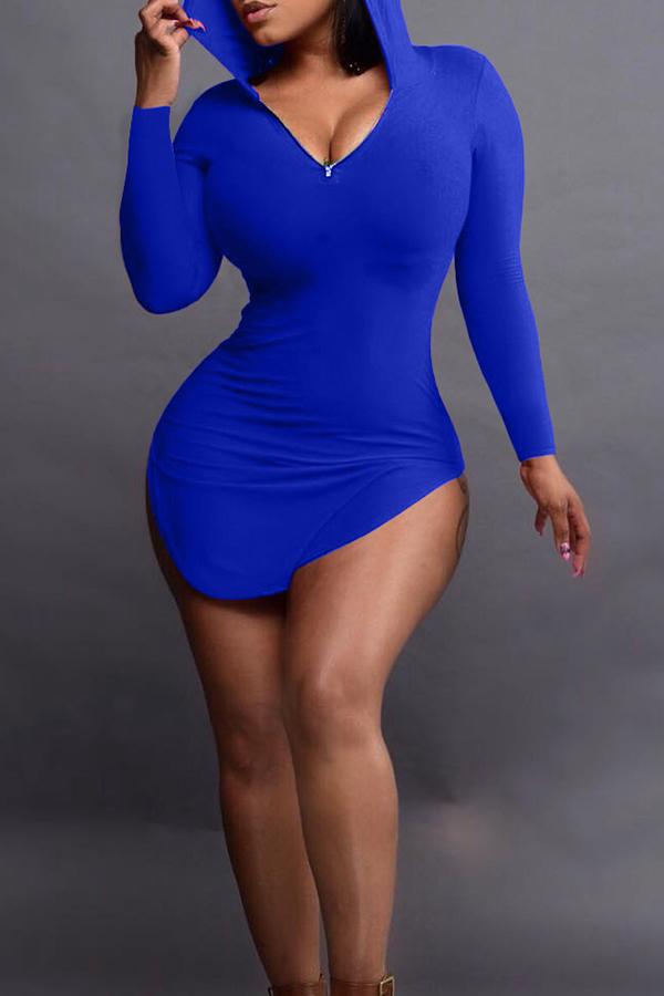 Sexy Hooded Collar Irregular Design Purplish Blue Polyester Mini Dress Dresses <br><br>