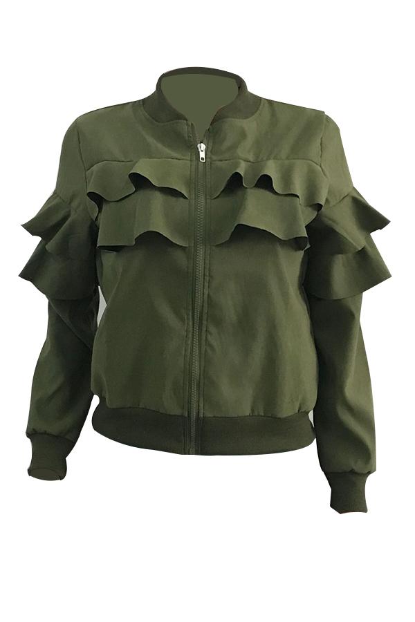 Ocio Cuello Redondo Falbala Diseño Ejército Verde Terciopelo Cremallera Escudo