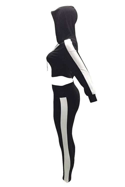 Casual Hooded Collar Striped Black Polyester Two-Piece Pants Set