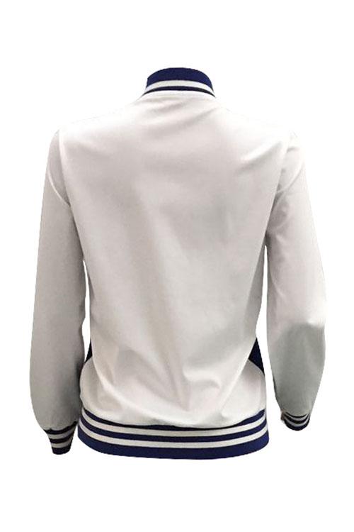 Stylish Round Neck Cartoon Printed Blue Polyester Zipped Jacket