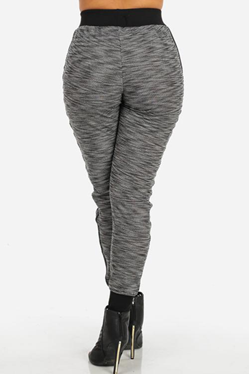 Fashion High Elastic Waist Striped Grey Cotton Blends Pants