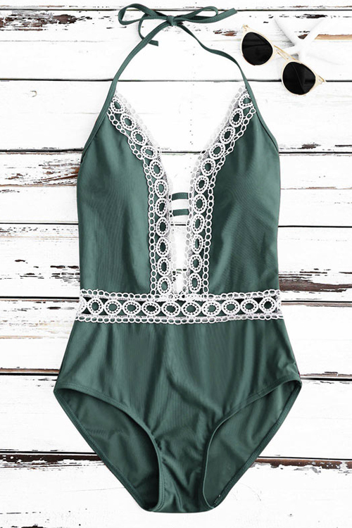 Sexy Lace Spliced Green Nylon One-piece Swimwear