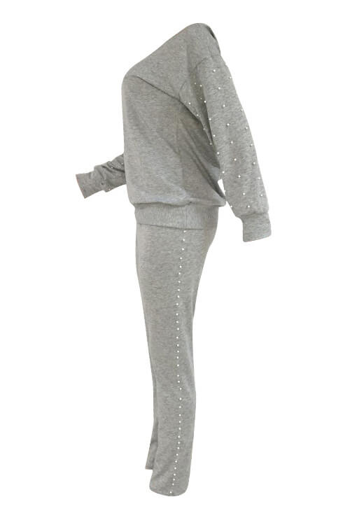 Lovely Casual Round Neck Pearl Decoration Grey Blending Two-Piece Pants Set