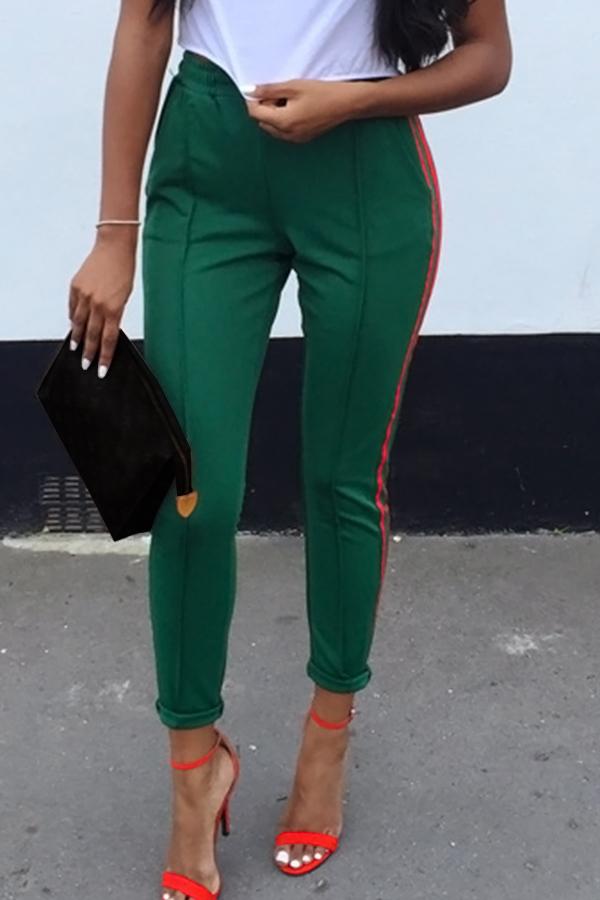 Elegante Mid Elastic Cintura Listrada Verde Algodão Blends Calças