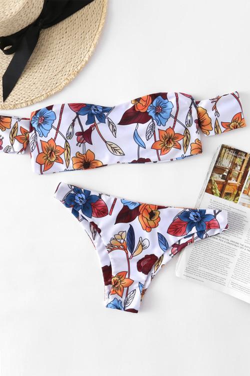Amorous Feeling Printing White Nylon Bikini Set<br>