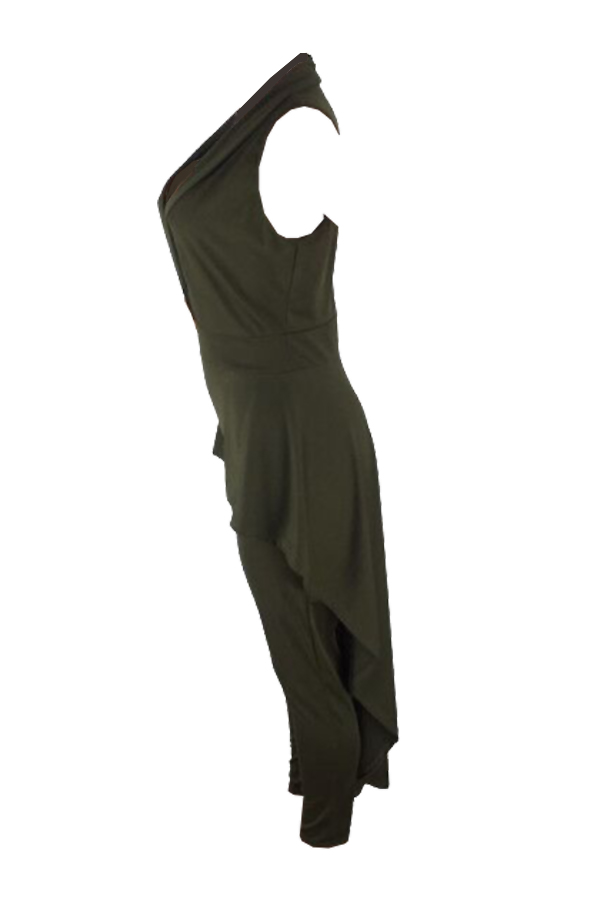 Sexy Turndown Collar Falbala Hems Design Army Green Polyester One-piece Jumpsuits