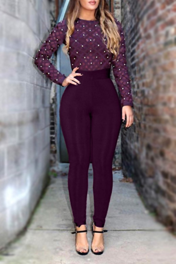 Sexy Round Neck Long Sleeves Gauze Patchwork +Pearl Decoration Purple Healthy Fabric One-piece Skinny Jumpsuits