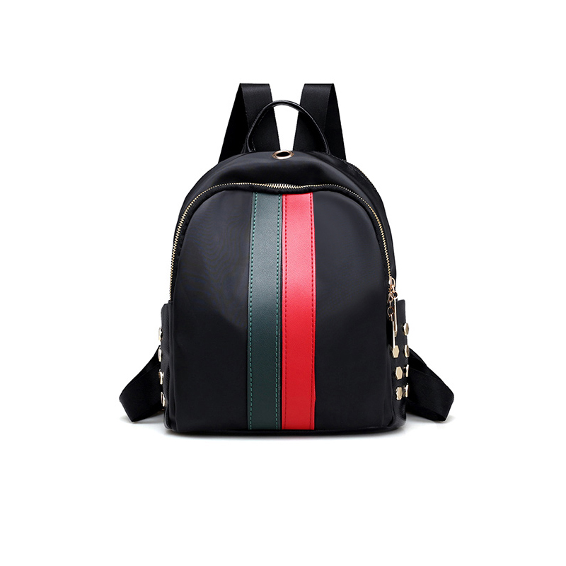 Lovely Fashion Zipper Design Striped Green PU Backpacks