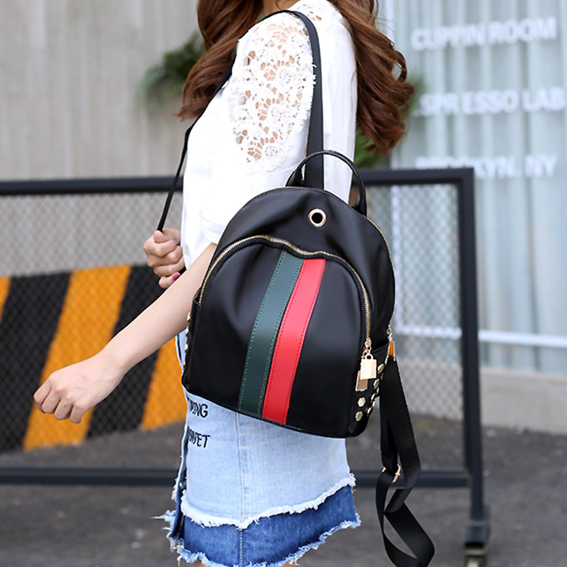 Lovely Fashion Zipper Design Striped Green PU Backpacks