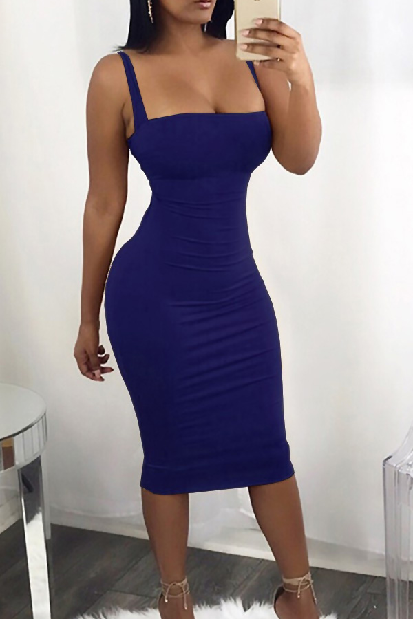 Sexy Square Neck Backless Lace-up Blue Polyester Mid Calf Dress