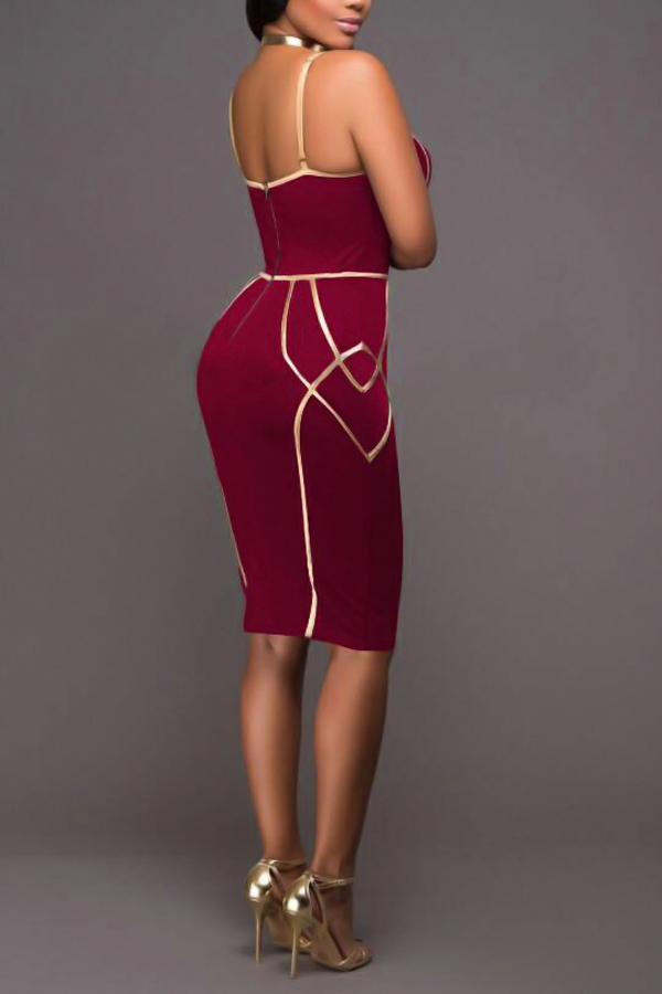 Sexy Spaghetti Strap Sleeveless Striped Printed Wine Red Polyester Sheath Knee Length Dress