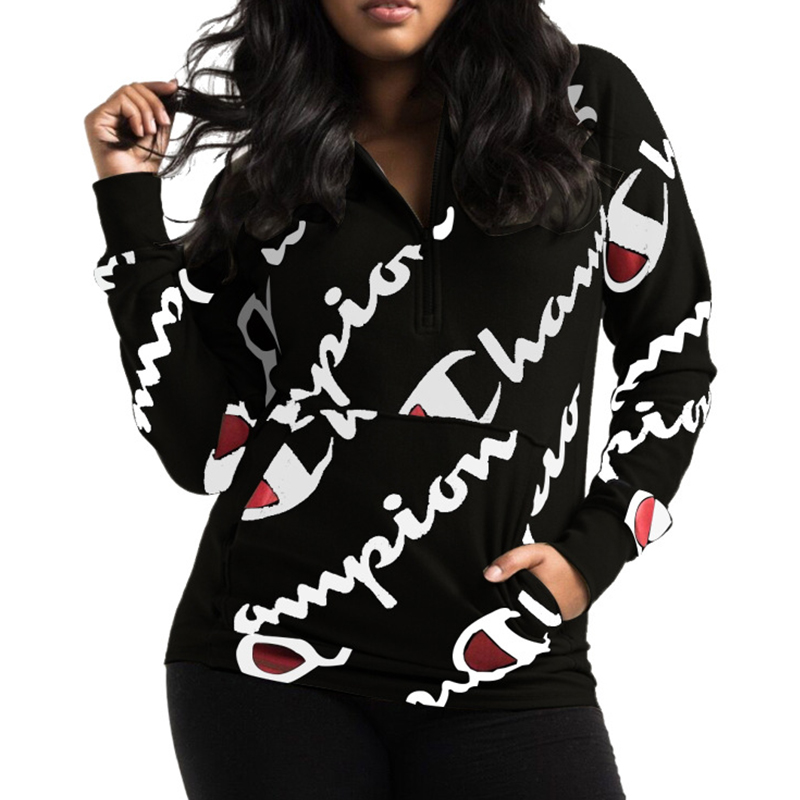 Leisure Hooded Collar Letters Printed Black Polyester Hoodies(Non Positioning Printing)
