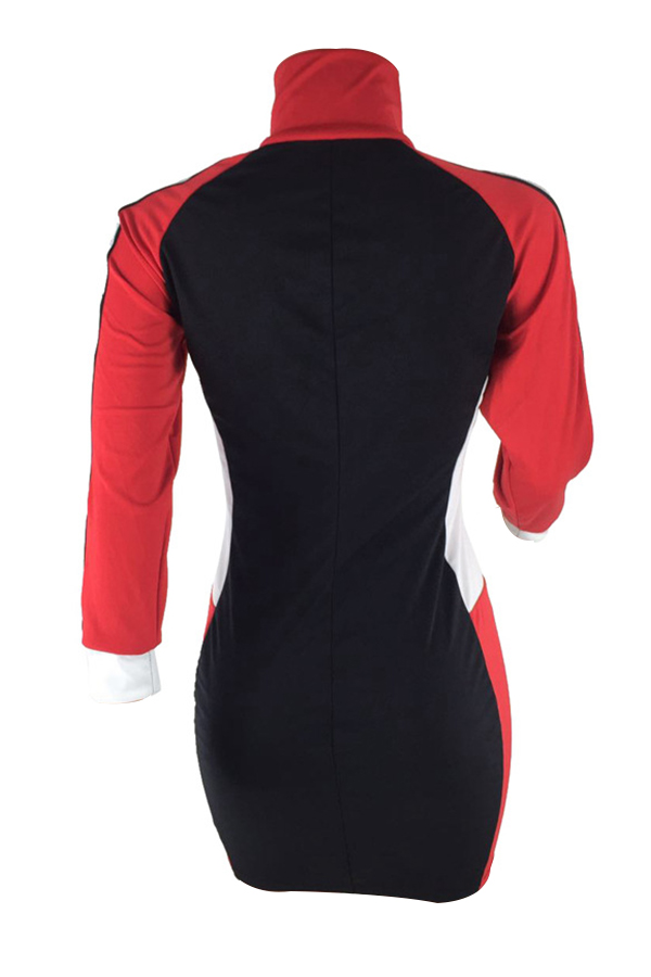 Casual Turtleneck Patchwork Red Polyester Sheath Mini Zipped Dress