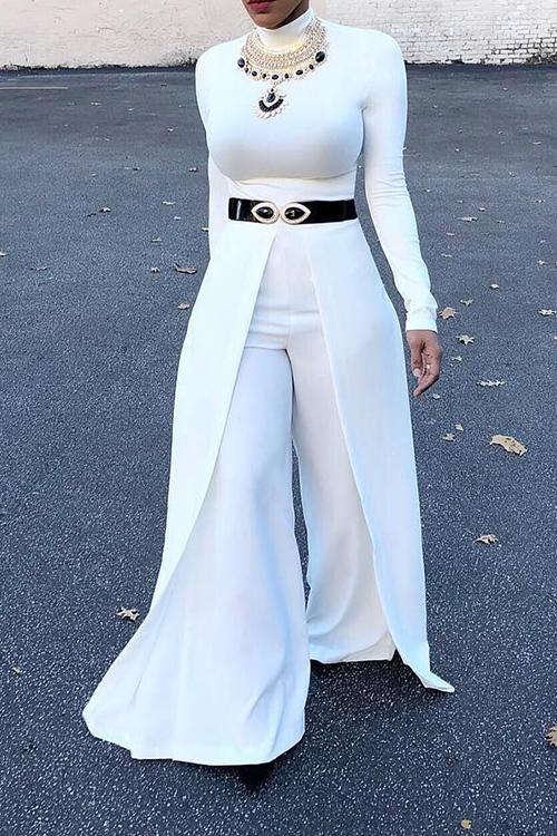 Moda Rodada Pescoço De Pernas Largas Design Algodão Branco Combina Macacão De Uma Peça (sem Acessórios)
