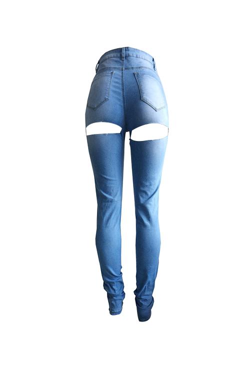 Мода Mid Waist Сломанные Дыры Светло-голубые Джинсовые Джинсы
