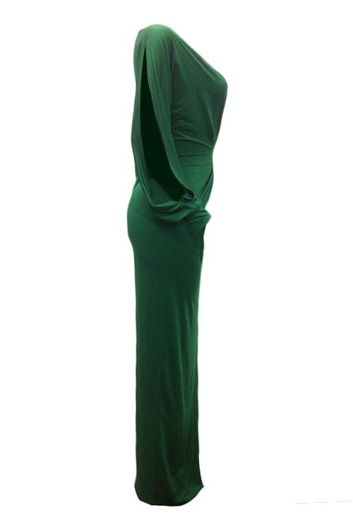 Sexy V Neck Irregular Patchwork Green Milk Fiber Floor Length Dress