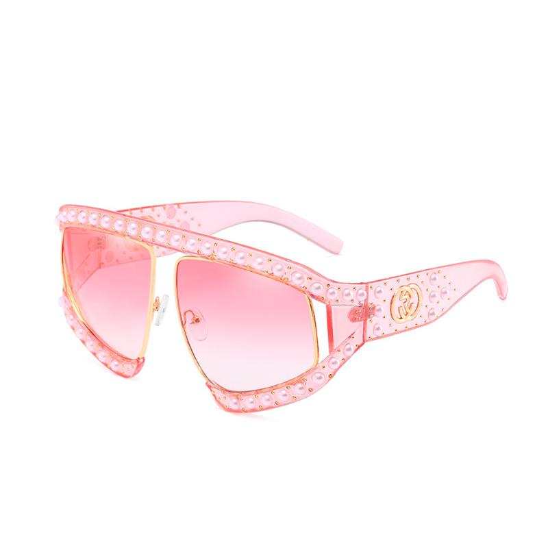 Модная Жемчужная Отделка Большой Рамы Дизайн Розовый ПК Солнцезащитные Очки