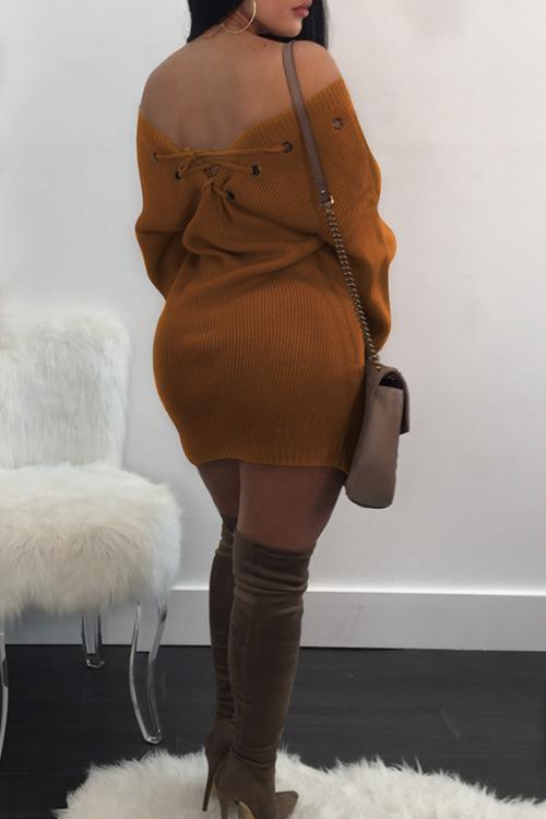 Sexy V Neck Eyelets Design Lace-up Yellow Polyester Mini Dress