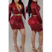 Sexy Mandarin Collar Sequins Design Purplish Red Polyester Two-piece Skirt Set