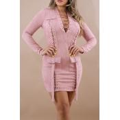 Vestido De Poliéster Rosa Mini Diseño De Vendaje En Cuello V Sexy