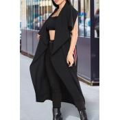 Euramerican Turndown Collar Irregular Design Black