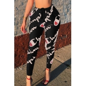 Casual Mid Elastic Waist Letters Printed Black Polyester Pants