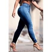 Euramerican High Waist Zipper Design Blu Denim Pa