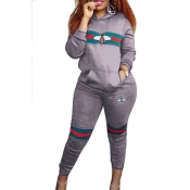 Leisure Hooded Collar Pocket Design Printed Grey Polyester Two-Piece Pants Set