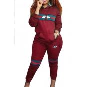 Diseño De Bolsillo De Cuello Con Capucha De Ocio Impreso Pantalones De Dos Piezas De Poliéster Rojo Conjunto