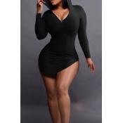 Mini Vestido De Poliéster Negro De Diseño Irregular Sexy Con Capucha