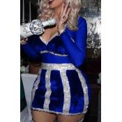 Sexy V-Ausschnitt Durchsichtig Royalblau Polyester Minikleid