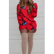 Casual Hooded Collar Letters Printed Red Polyester Mini Dress