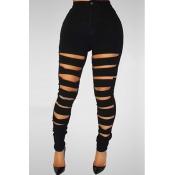 Fashion High Waist Broken Holes Black Denim Pants