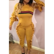Leisure Round Neck Ruffles Patchwork Yellow Polyester One-piece Jumpsuits