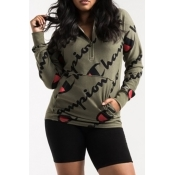 Leisure Hooded Collar Letters Printed Dark Green Polyester Hoodies(Non Positioning Printing)