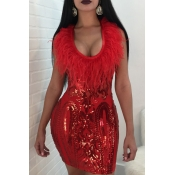 Sexy U Neck Feather And Sequins Decoration Red Pol
