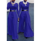 Fashion Round Neck Wide legs Design Blue Cotton Blends One-piece Jumpsuits(Without Accessories)