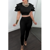 Casual Round Neck Layered Lotus Leaf Sleeves Black Twilled Satin Two-Piece Pants Set(Without Accessories)