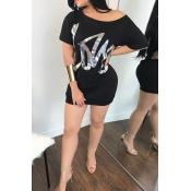 Letras De Hombro Con Hombros Descubiertos Y Estampado En Caliente Negro Mini Vestido De Mezcla De Algodón