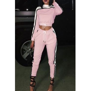 Casual Round Neck Patchwork Pink Polyester Two-Piece Pants Set