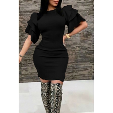 Sexy Round Neck Ruffle Sleeves Black Polyester Knee Length Dress