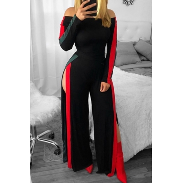 Lovely Leisure Bateau Neck Slit Design Black Polyester One-piece Jumpsuits