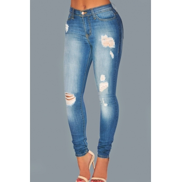 Fashionable Mid Waist Broken Holes Blue Denim Zipped Pants