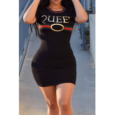 Sexy Round Neck Letters Printed Black Polyester Mini Dress