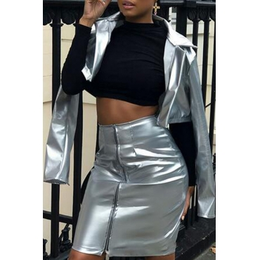 Trendy Turndown Collar Zipper Design Silver Polyester Two-piece Skirt Set