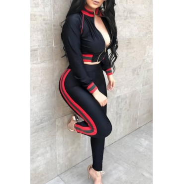 Casual Mandarin Collar Patchwork Black Knitting Two-Piece Pants Set