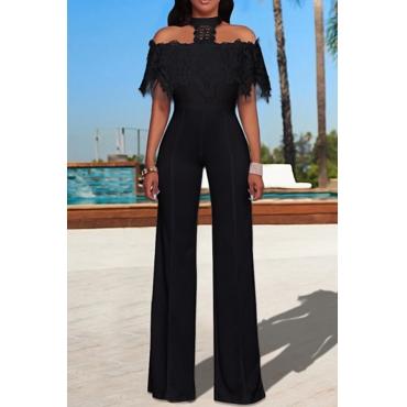 Trendy Halter Neck Lace Patchwork Wide-legs Design Black Polyester One-piece Jumpsuits