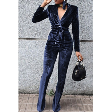 Fashion Turndown Collar Belted Blue Velvet Two-Piece Pants Set(Without Accessories)