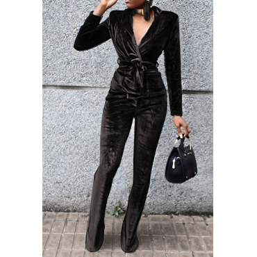 Fashion Turndown Collar Belted Black Velvet Two-Piece Pants Set(Without Accessories)